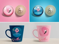 Flamingo logo study. Mockups & Goodies