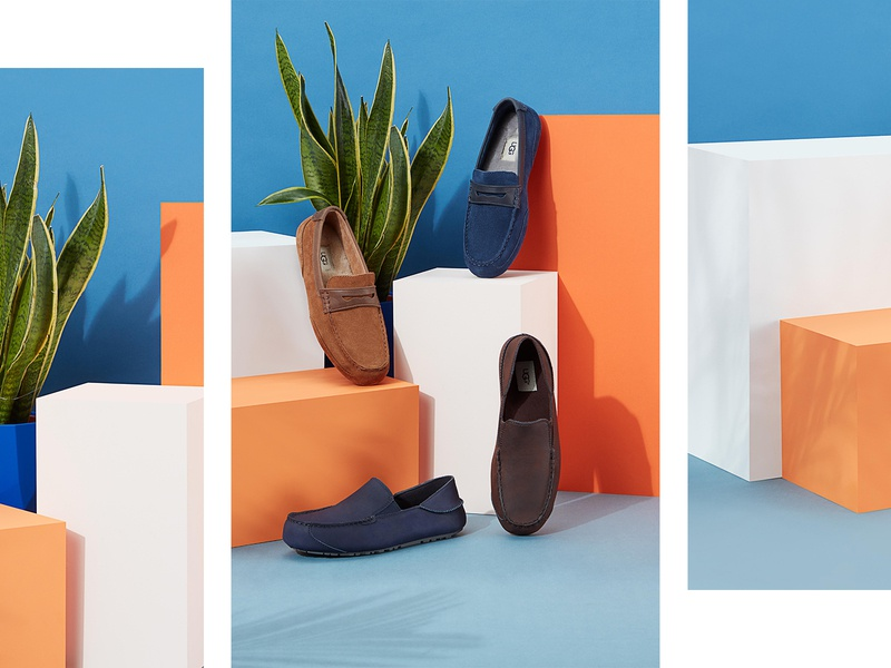 UGG Spring Product Shoot ugg shoes plinth plant springfield colorful set design art direction photography