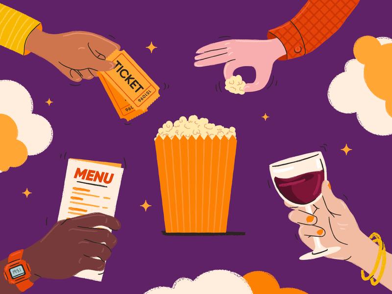Evening Returns trains train night stars clouds wine tickets menu popcorn hands brush vector illo illustration
