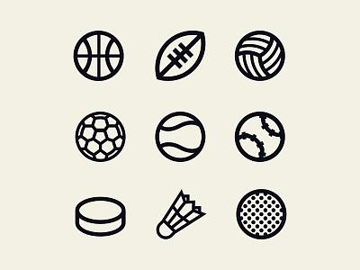 Sports balls icons golf hockey baseball tennis soccer volleyball football basketball ball icon