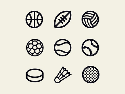 Sports balls icons golf hockey baseball tennis soccer volleyball football basketball ball icon
