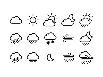 Weather icons pack rain icons moon wind sun weather