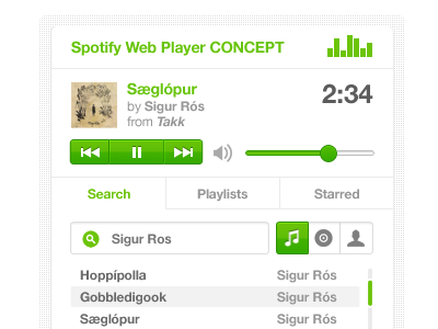 Spotify Web Player Concept spotify user interface audio player concept