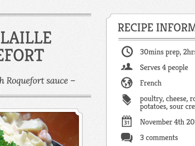 Recipe Theme - Main Content & Sidebar recipe cooking france google webfonts