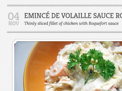 Cuisine Recipe Theme - Homepage google webfonts recipe kreon accordion ux ui
