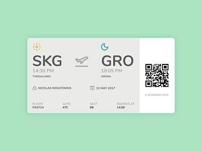 E-Boarding Pass icon boarding gate ux ui mobile app ticket plane flight pass e-boarding