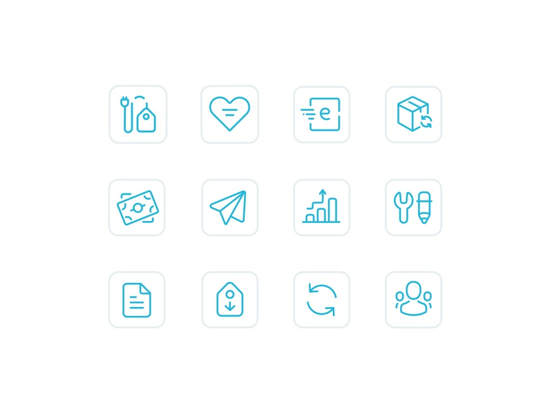 Oberlo Icons oberlo symbols ecommerce illustration vector outline icons set icons
