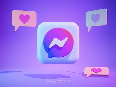 3D Messenger icon design for website facebook icon messenger icon web element design 3d art ui illustration app 3d icon 3d modeling 3d illustration