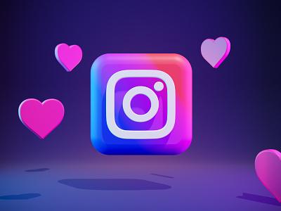 3d  Instagram logo for website low poly blender rendering app ui logo illustration design 3d icon 3d modeling 3d illustration 3d art