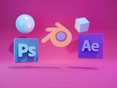 3D Photoshop , After effect and Blender logo photoshop logo isometric after effect branding logo ui illustration design 3d icon 3d modeling 3d illustration 3d art