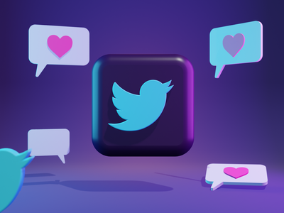 3D Twitter logo for website 3d logo blender 3d blender 3d illustration design 3d icon 3d modeling 3d illustration 3d art
