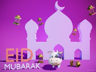 3D EID Mubarak With cute 3d cow eid mubarak 3d ui design 3d model for web eid ul adha eid illustration 3d icon 3d modeling 3d illustration 3d art