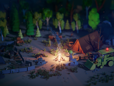Low poly Camp fire!!! Bob the builder theme night scene camp fire blender 3d blender bob the builder 3d modeling illustration low poly animation 3d art 3d illustration
