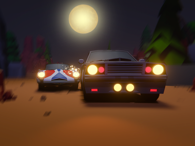 3D car chasing Scene illustration ui 3d modeling 3d illustration