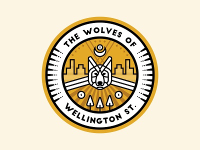 The Wolves Of Wellington Street Team Sticker linework the wolf of wall street logo emblems crest yellow money team sales wolves wolf badge sticker