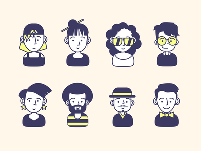 Avatar set for cappuccino fashion hipster hat people heads humans profile avatar illustration character ios