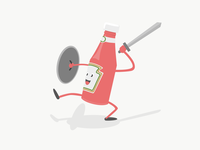 Ketchup warrior character ketchup food knight