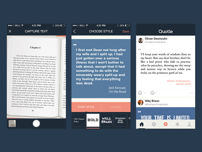 Quotle screens fonts feed social network book text mobile app ios