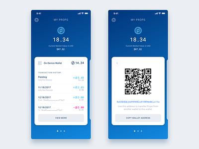 PROPS Crypto Wallet Dashboard blockchain qr fintech homescreen moile app iphonex ios wallet eth crypto