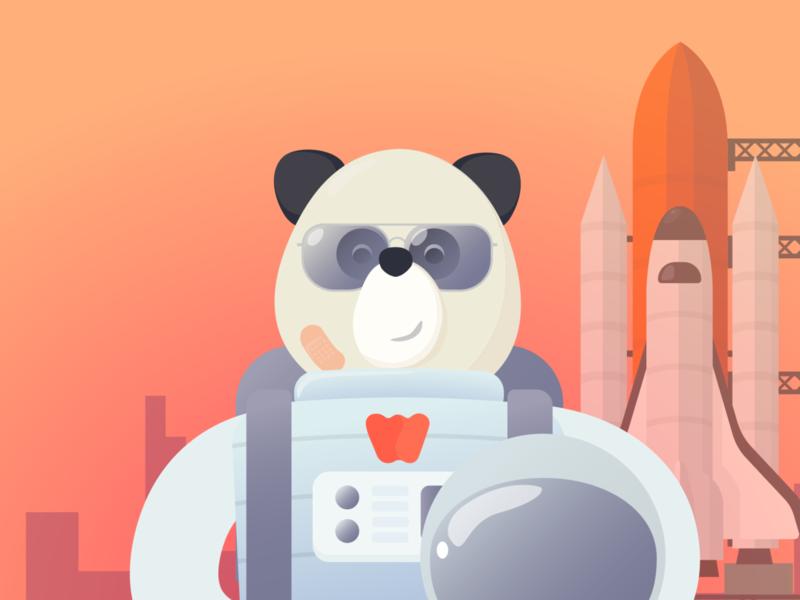 Panda Stronaut Big fly illustration character mars launchpad rocket space explorer astronaut panda boarding