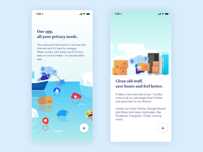 Jumbo Privacy On Boarding screens (part2) walk through like amazon instagram twitter socials safe ios mobile character illustration app onboarding privacy elephant