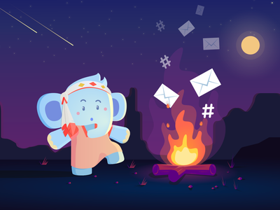 Jumbo Chaman illustration emails privacy mascot flame fire campfire cult chaman character elephant