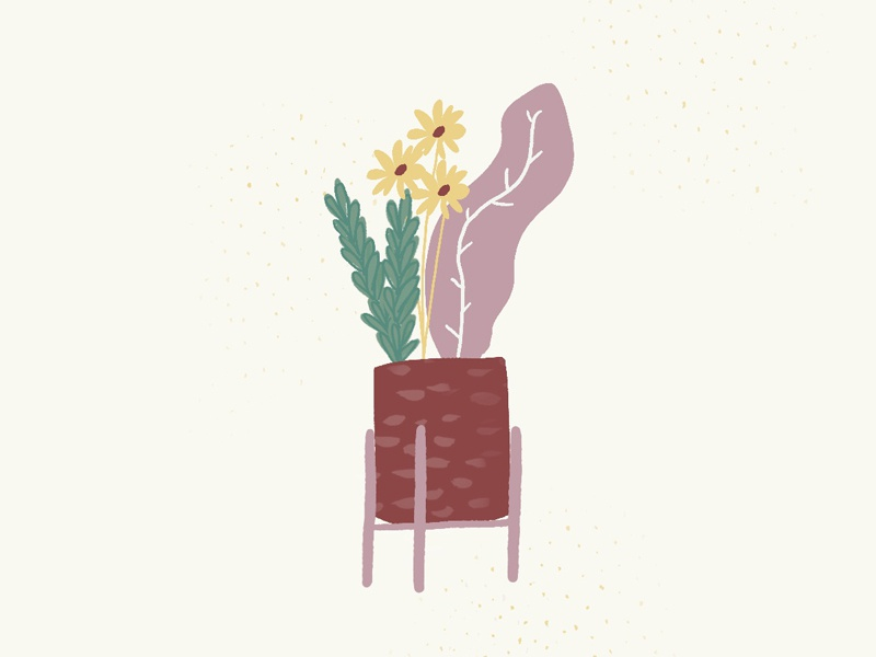 Spring daisies flower pot flowers spring exploration sketch illustration