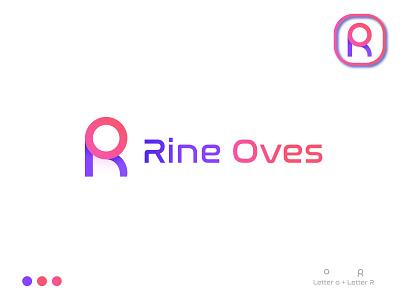 RO logo design (Rine Oves) gradient vector app icon or icon or logo simple logo brand identity abstract minimal logo designer brand design illustration creative colourful logo best logo branding logo mark graphic design