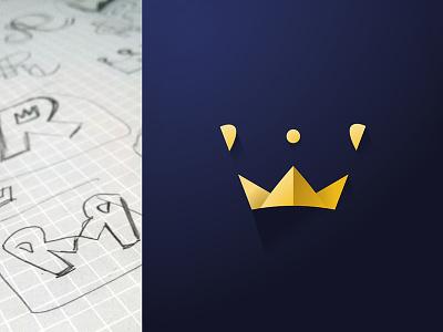 Crown Logo logo mark symbol doodle sketch crown gold letter r negative space