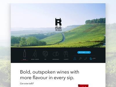 Rude Wines Landing Page website web design landing page ui icons menu navigation wine