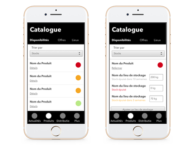 Stock Alerts catalogue wireframes ux stock