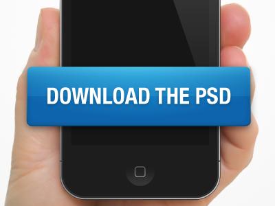iPhone holding hand - free PSD free psd hand iphone website freebie