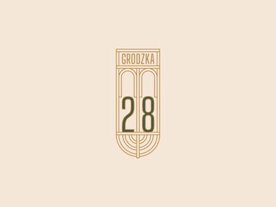 Grodzka 28 Apartments logotype luxury old city menorah gold green apartment real estate branding logo