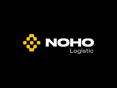 NOHO Logistic icon logo branding warehouse box transport black yellow logistics logistics logo logistic store real estate logo real estate