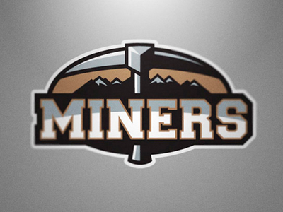 Silesia Miners logo sport nfl miner mountain pickaxe football american grey