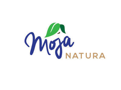 Moja Natura logo my nature leaf woman forelock eco cosmetics food