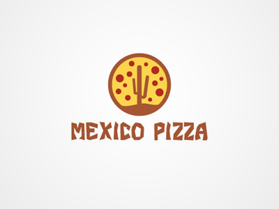 Mexico Pizza food pizza mexico yellow brown red cactus restaurant logo