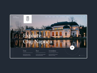Explore Cluj Website Concept clean discover desktop website elegant romania cluj transition loading city branding web animation ux ui