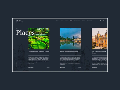 Explore Cluj Website Gallery Concept dark ui explore transition parallax navigation detail page webdesign romania city branding city cluj slide gallery dark design web animation clean ux ui