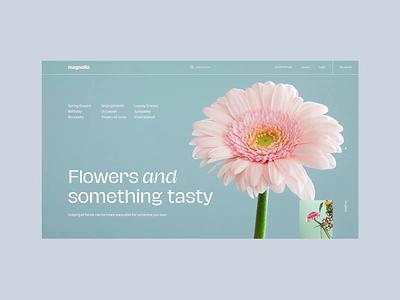 Flower Webshop Concept premium elegant simple white presentation landing transition romania magnolia nature flower store online ecommerce shop ecommerce web animation clean ux ui
