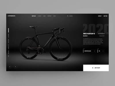 ORBEA Bike Webshop Concept orbea product detail smooth transition black dark dailyui 012 dailyui bicycle bike ecommerce online store online shop webshop web animation clean ux ui