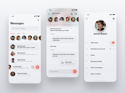 Messenger Redesign redesign concept profile dark ui skeuomorph neumorphism messaging message app dailyui 013 dailyui chat app chat white app mobile iphone ios clean ux ui