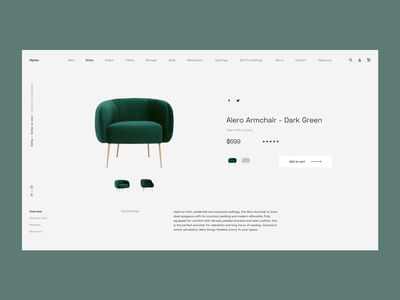 Minimalist Furniture Webshop - BEHANCE detail gray online store ecommerce redesign concept case study homeware furniture nordic scandinavian elegant minimalist hipvan flat web animation clean ux ui