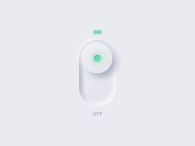 ON/OFF Switch light onoff switch dailyui015 dailyui dark ui onoffswitch onoff skeuomorph neumorphism neumorphic white web mobile animation clean ux ui