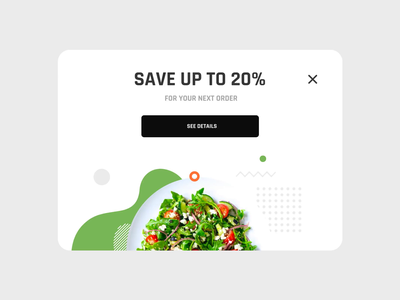 Overlay Animation promotion daily 100 challenge colorful desktop pizza food order popup overlay discount food dailyui 016 dailyui white web mobile flat animation clean ux ui