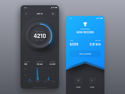 Step Counter Concept futuristic distance award dashboard counter step pedometer black dark ui dark skeuomorph neumorphism app mobile iphone ios clean ux ui