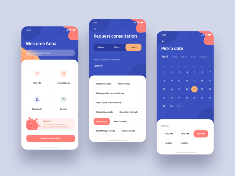 Medical Booking App Concept consultation blue colorful friendly health appointment pandemic virus covid-19 covid doctor medical app mobile iphone flat ios clean ux ui