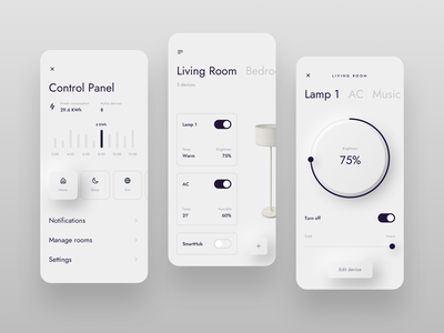 Smart Home App electricity ac lamp controller luxury premium elegant skeumorphism neumorphism dashboard white dailyui 021 dailyui app mobile iphone ios clean ux ui