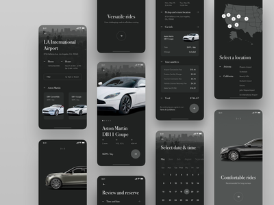 Car Rental App onboarding mobile checkout calendar flow elegant luxury rental car product dark ui dailyuichallenge dailyui 023 dailyui app iphone ios clean ux ui