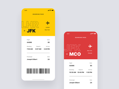 Boarding Pass minimalistic lufthansa boarding pass information ticket flight plane jfk dailyui 024 dailyui flat app mobile iphone ios clean ux ui